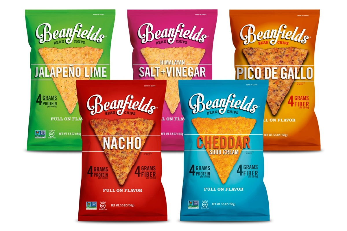 Beanfields Bean Chips Reviews and Info - gluten-free, dairy-free, nut-free, soy-free, corn-free, and vegan! Ten flavors, include Cheddar Sour Cream, Spicy Queso, Salt and Vinegar, and More.