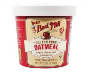 Bob's Red Mill Gluten Free Oatmeal Cups Reviews and Info - Dairy-free, Plant-Based, Soy-Free, and Vegan in Eight Varieties. Pictured: Apple Cinnamon
