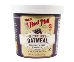 Bob's Red Mill Gluten Free Oatmeal Cups Reviews and Info - Dairy-free, Plant-Based, Soy-Free, and Vegan in Eight Varieties. Pictured: Blueberry and Hazelnut