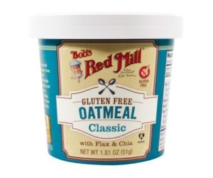 Bob's Red Mill Gluten Free Oatmeal Cups Reviews and Info - Dairy-free, Plant-Based, Soy-Free, and Vegan in Eight Varieties. Pictured: Classic (also in Organic)