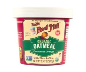 Bob's Red Mill Gluten Free Oatmeal Cups Reviews and Info - Dairy-free, Plant-Based, Soy-Free, and Vegan in Eight Varieties. Pictured: Cranberry Orange