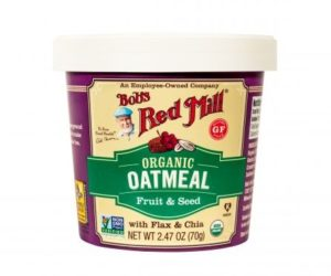 Bob's Red Mill Gluten Free Oatmeal Cups Reviews and Info - Dairy-free, Plant-Based, Soy-Free, and Vegan in Eight Varieties. Pictured: Organic Fruit and Seed