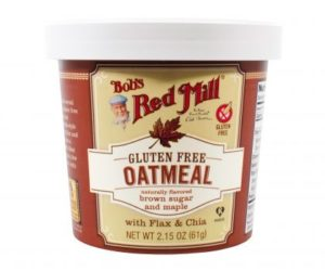 Bob's Red Mill Gluten Free Oatmeal Cups Reviews and Info - Dairy-free, Plant-Based, Soy-Free, and Vegan in Eight Varieties. Pictured: Maple and Brown Sugar