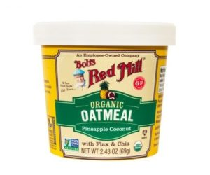 Bob's Red Mill Gluten Free Oatmeal Cups Reviews and Info - Dairy-free, Plant-Based, Soy-Free, and Vegan in Eight Varieties. Pictured: Organic Pineapple Coconut