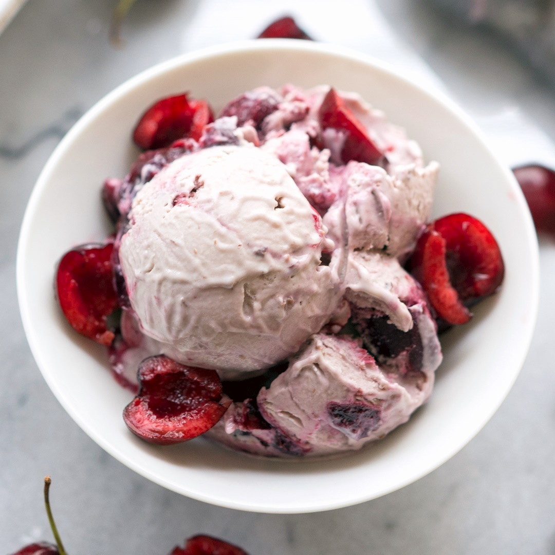 Vegan Amaretto Cherry Ice Cream Recipe + Review of Vegan Bowl Attack by Jackie Sobon