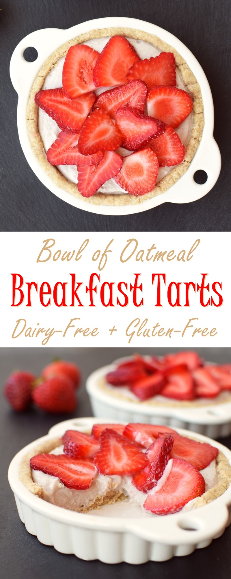 """Dairy Free Breakfast Tarts Recipe - """"Bowl of Oatmeal"""" Crust with Creamy Fruit Filling (naturally healthy, gluten-free and plant-based)"""