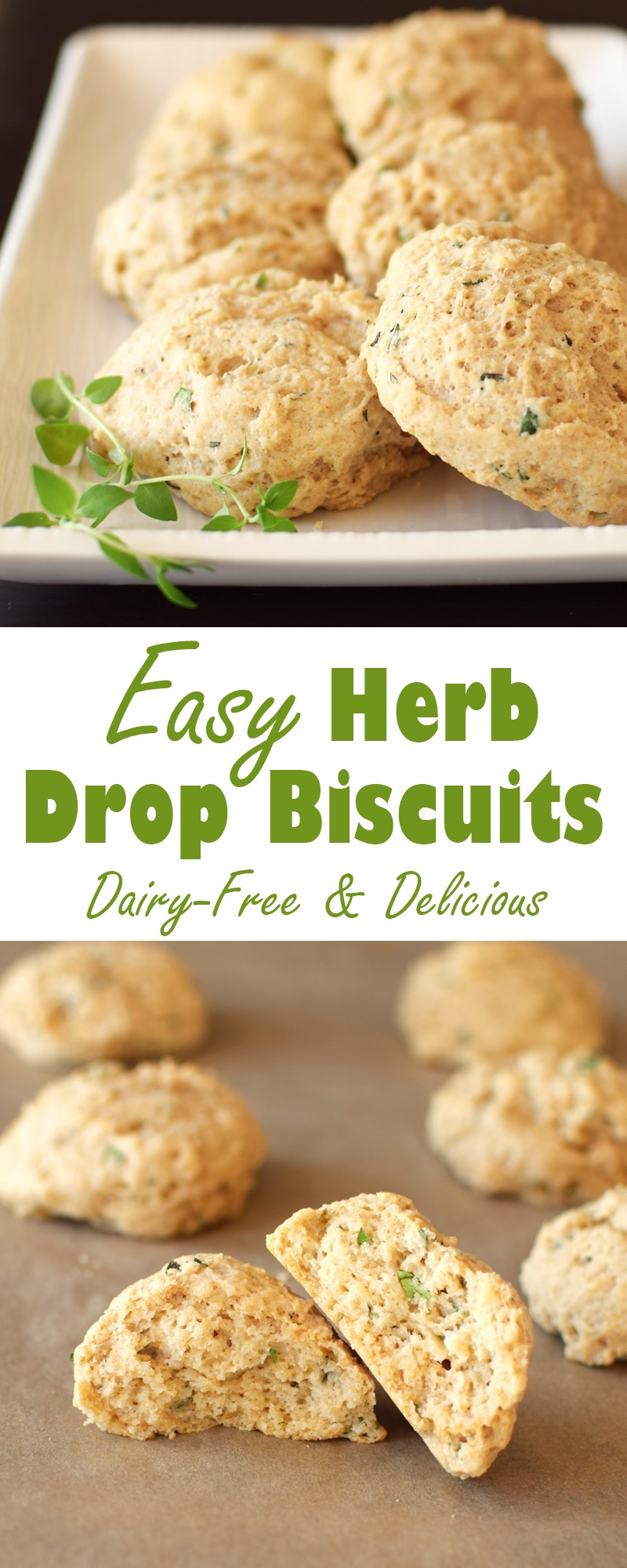 Easy Herb Drop Biscuits - a recipe with surprise everyday ingredients! (dairy-free, optionally vegan and 100% whole wheat recipe)