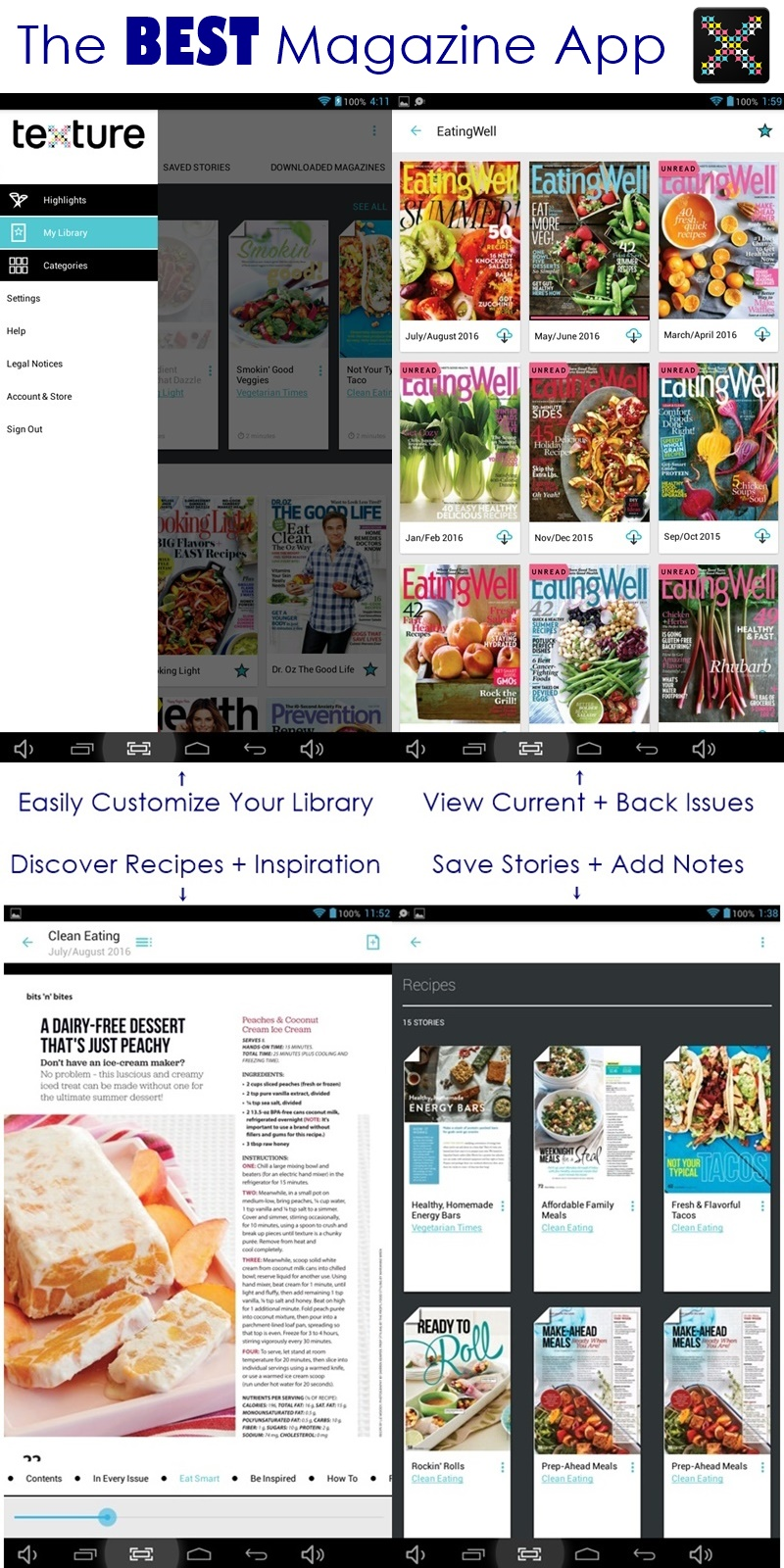 Texture App - Over 175 Magazines (with Back Issues!) at your finger tips (awesome for finding & sorting recipes!)