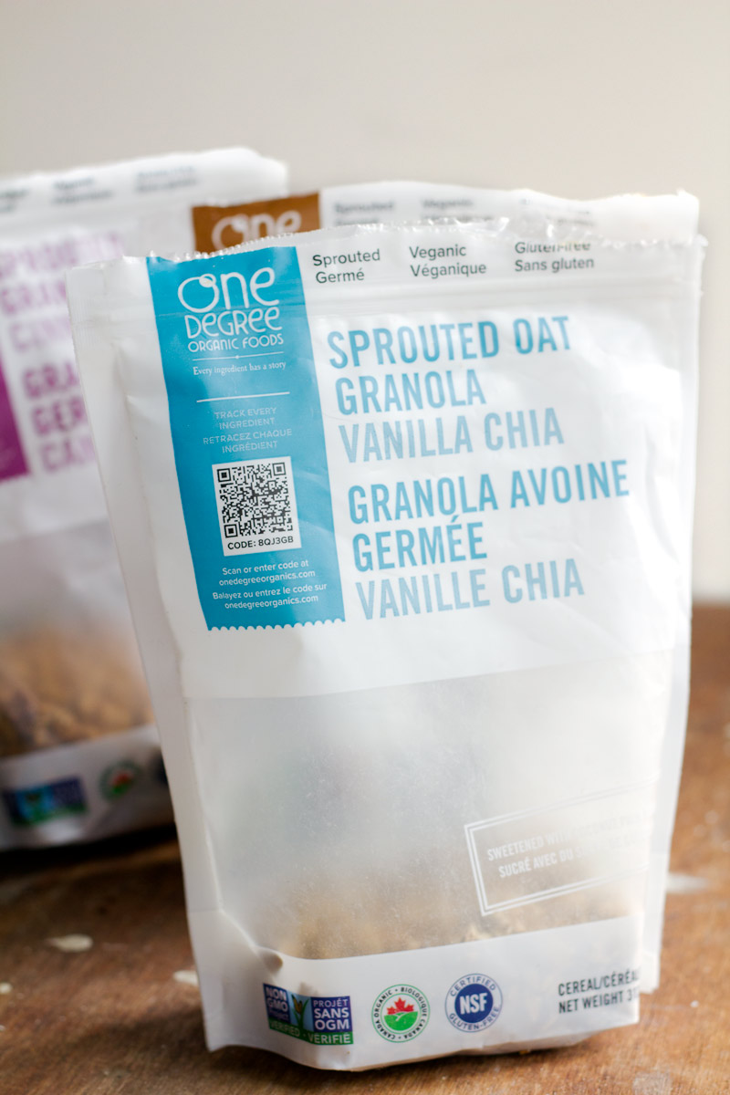 One Degree Organics Sprouted Oat Granola - available in 4 different flavors, all gluten-free, Kosher, organic, and some vegan!