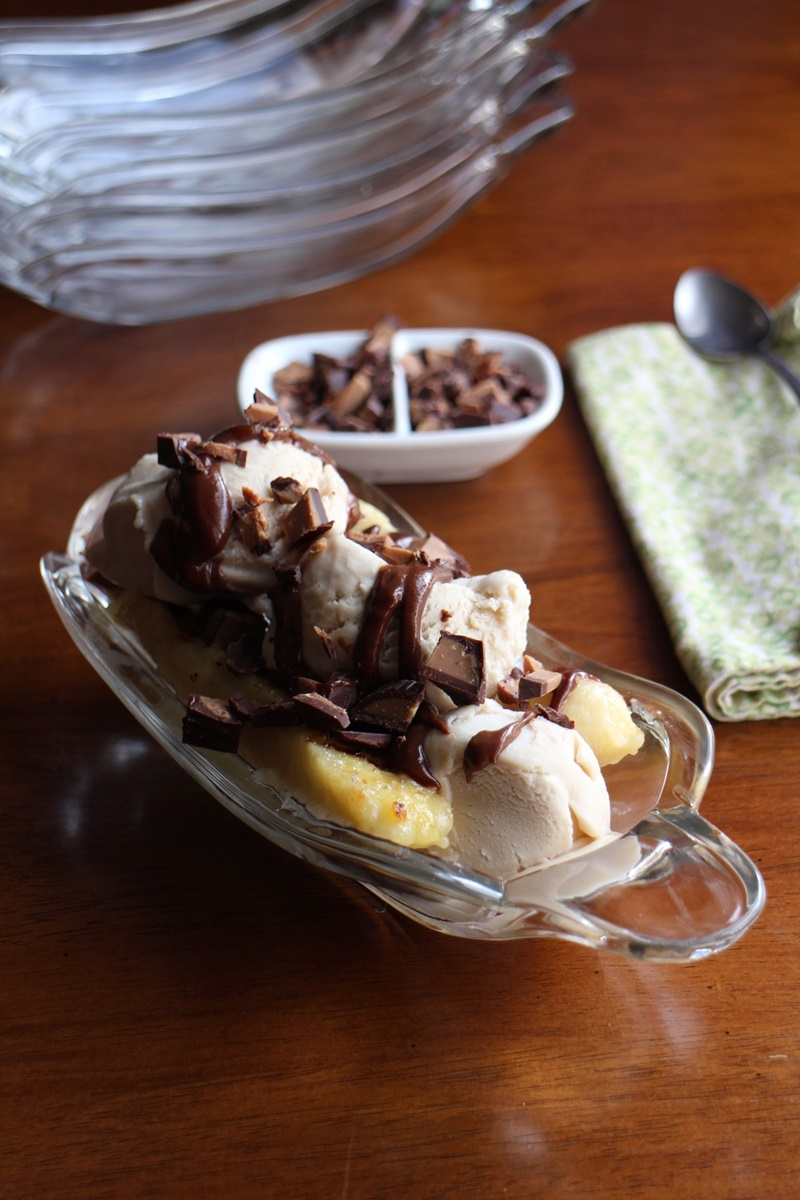Cashew Milk Dairy Free Frozen Dessert Recipes - Vegan Gluten-Free Grilled Banana Splits with Chocolate Peanut Butter sauce (pictured)