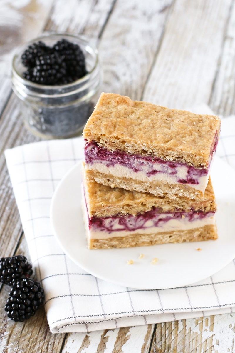 Cashew Milk Dairy Free Frozen Dessert Recipes - Vegan Gluten-Free Blackberry Crisp Ice Cream Sandwiches (pictured)