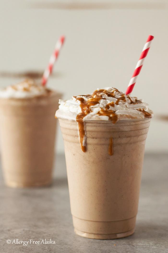 Cashew Milk Dairy Free Frozen Dessert Recipes - Vegan Gluten-Free Salted Caramel Frappuccino (pictured)