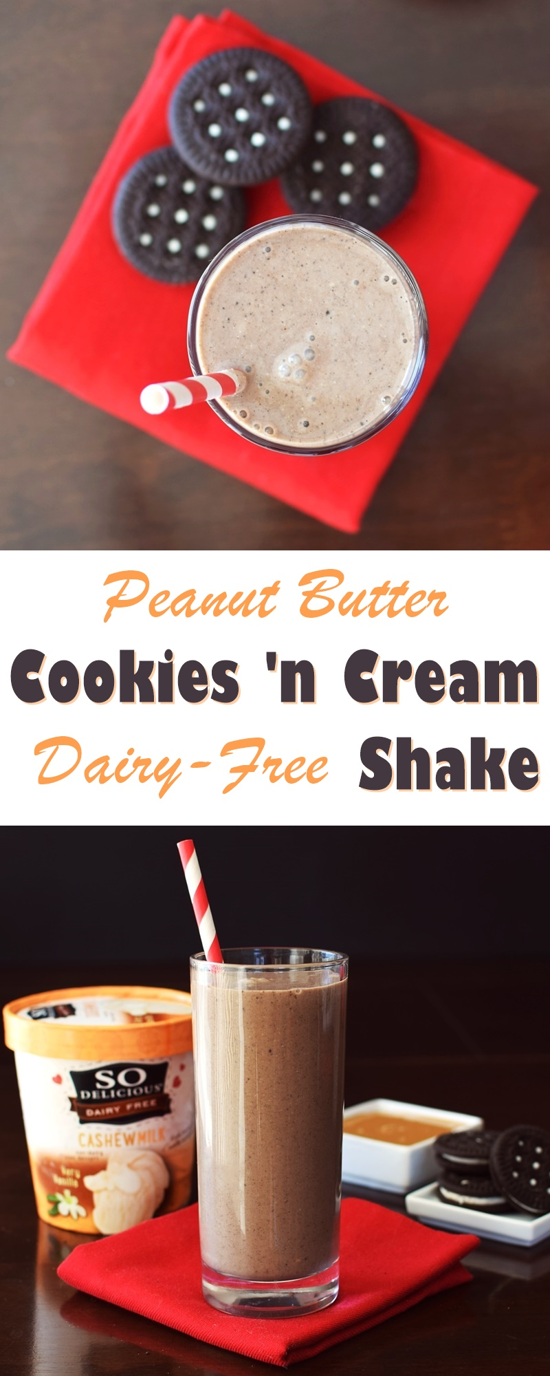 Peanut Butter Cookies 'n Cream Shake Recipe (indulgent vegan milkshakes with peanut butter, gluten-free sandwich cookies and very vanilla dairy-free ice cream)