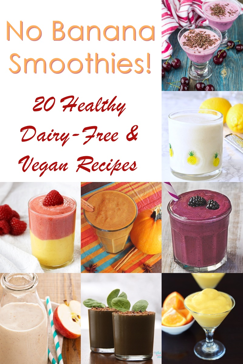 "20 Banana-Free Smoothie Recipes including my ""Back to School"" Wild Blueberry Bliss Smoothie"