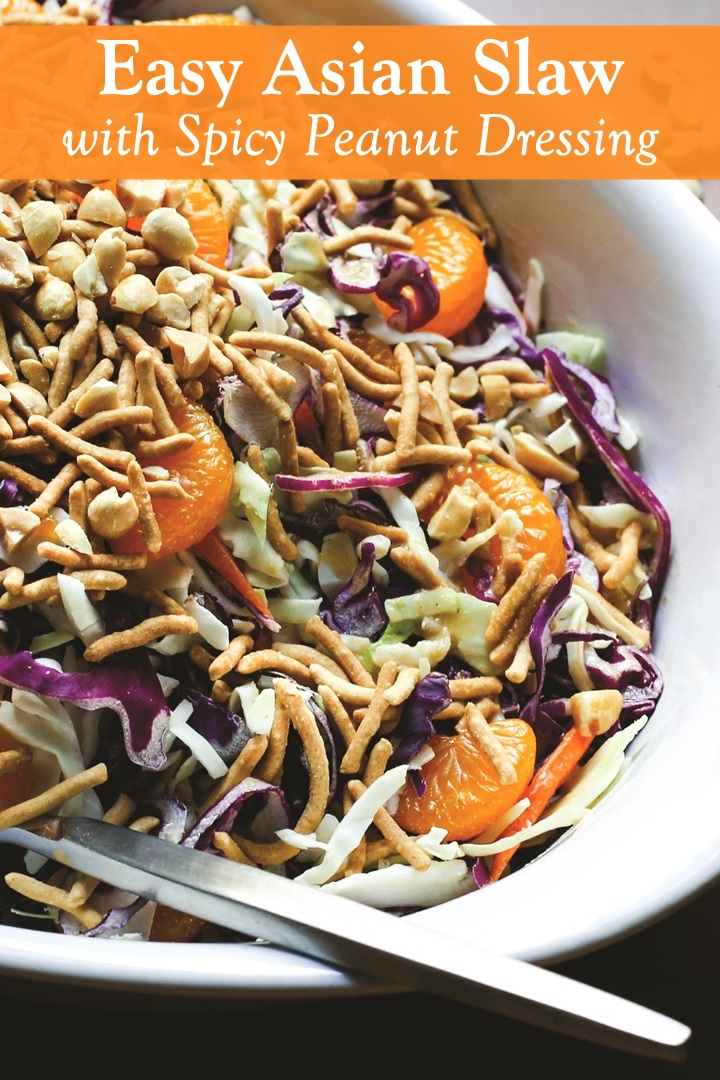 Asian Coleslaw Recipe with Spicy Peanut Dressing and Crunchy Chow Mein (Dairy-Free and Vegan Recipe)