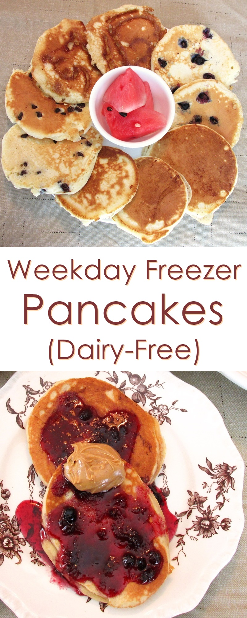 Dairy-free Freezer Pancakes Recipe - these easy, homemade frozen pancakes are perfect for weekdays, workdays and back to school
