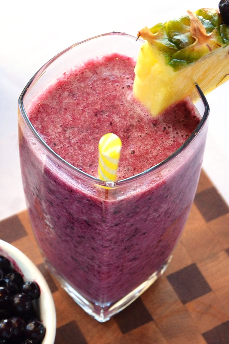 Blue Hawaiian Smoothie Recipe - a tropical dairy-free dream to enjoy all year with wild blueberries!