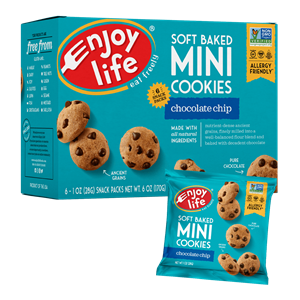 Enjoy Life Mini Cookies Reviews and Information - packs of little allergy-friendly, gluten-free, vegan cookies that come in crunchy and soft baked varieties.