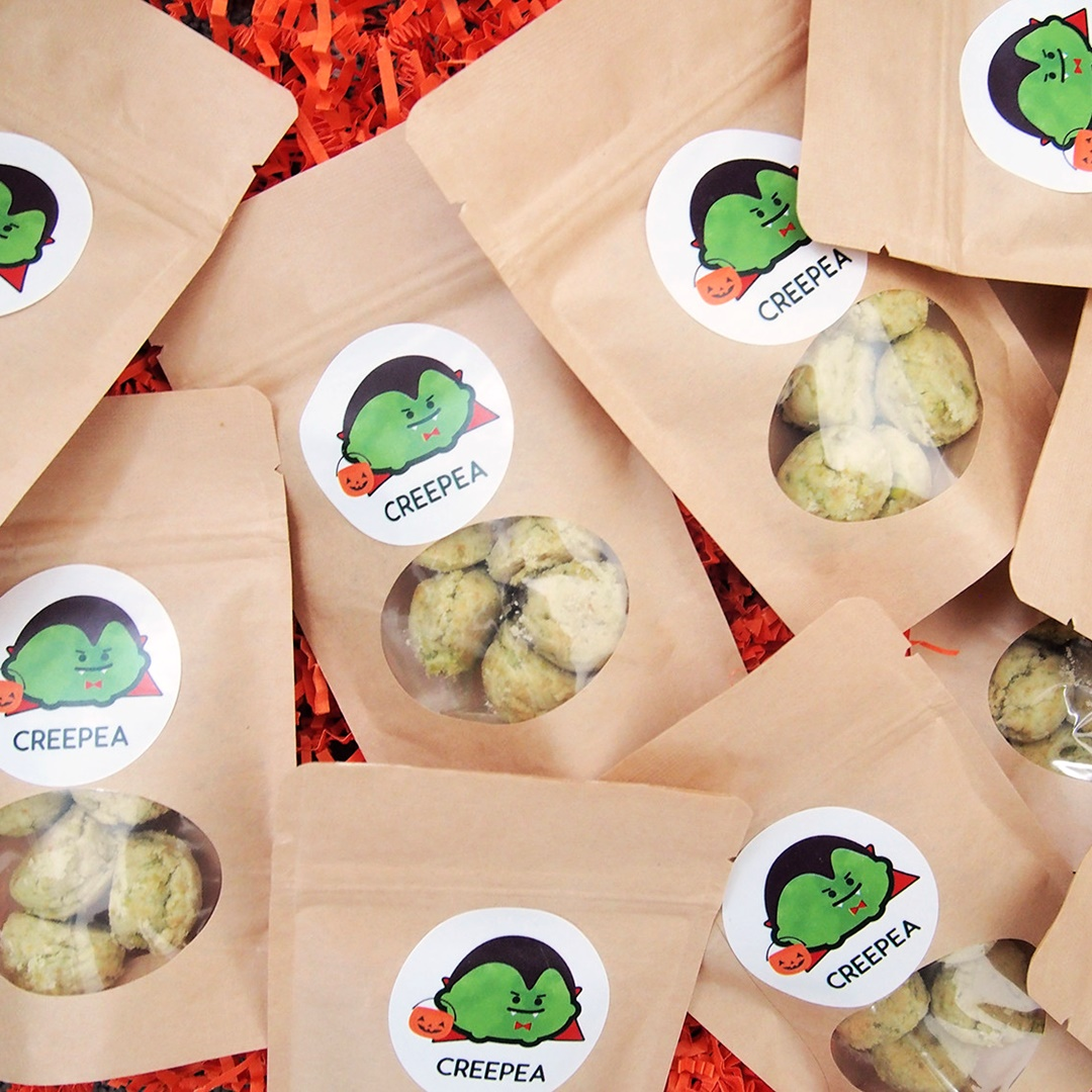 The Cutest + Tastiest Dairy-Free and Vegan Halloween Treats (Pictured - Creepea Green Pea Cookies)