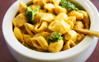 Vegan Sriracha Shells 'n Cheese Recipe (nutritious, protein-rich, dairy-free, gluten-free and soy-free!)