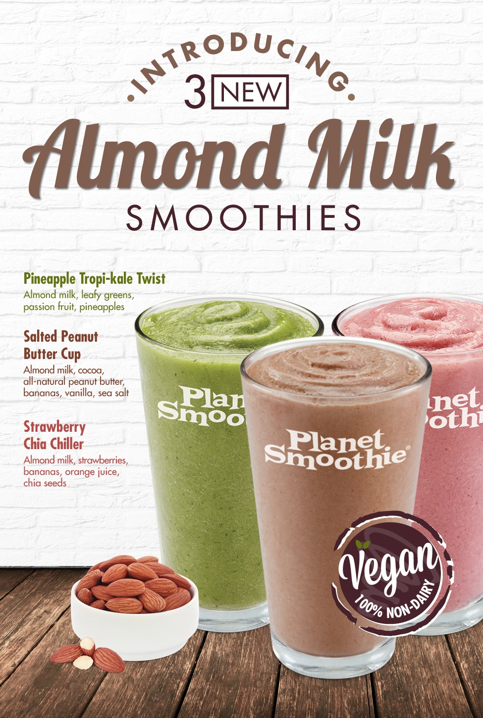 Planet Smoothie launches Dairy-Free & Vegan Smoothies made with Almond Milk