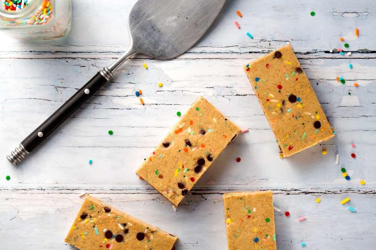Dairy-Free Cake Batter Protein Bars Recipe - vegan, soy-free, gluten-free breakfast bars or post-workout reward