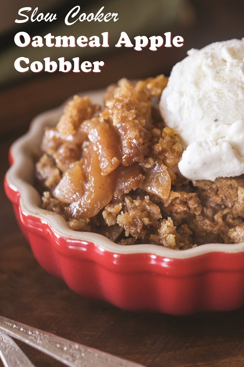 Slow Cooker Apple Cobbler Recipe - Dairy-free & vegan version