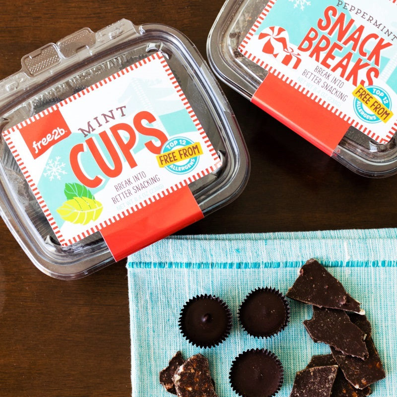 Free2B Chocolate Cups (Review) in several allergy-friendly varieties (vegan, gluten-free, nut-free, soy-free) - mint pictured