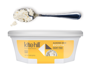 Kite Hill Ricotta is made from Dairy-Free Artisan Almond Milk