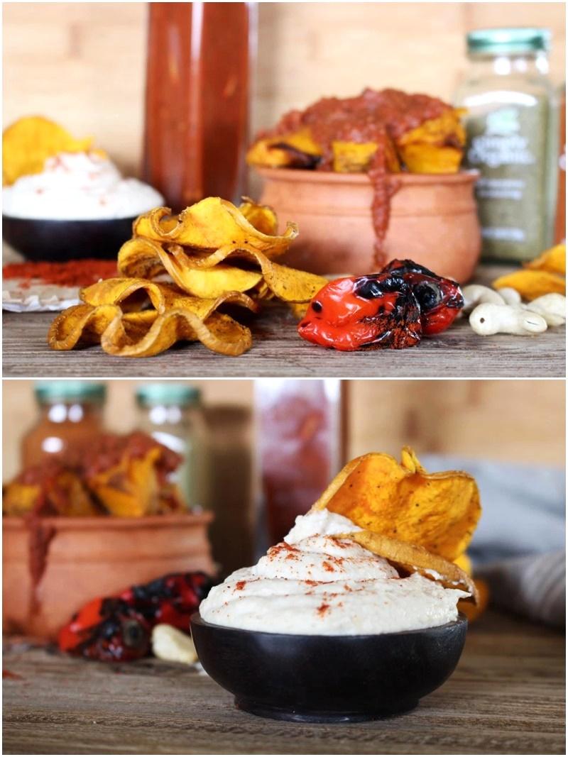 Pumpkin Chips with Creamy Cumin Cashew Dip and Harissa Sauce (Dairy-Free Bake Off Recipe!)