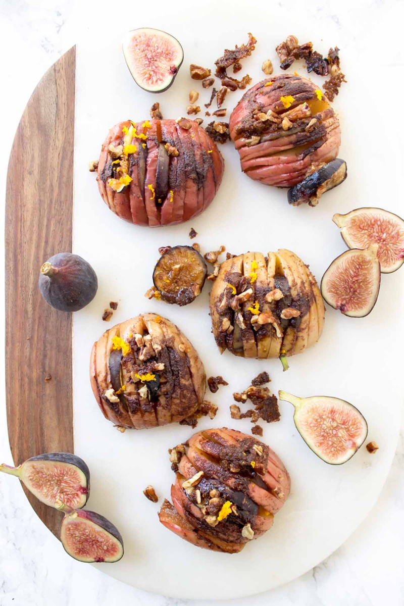 Dairy-Free Bake Off Recipe - Hasselback Baked Apples with Figs + Pecans