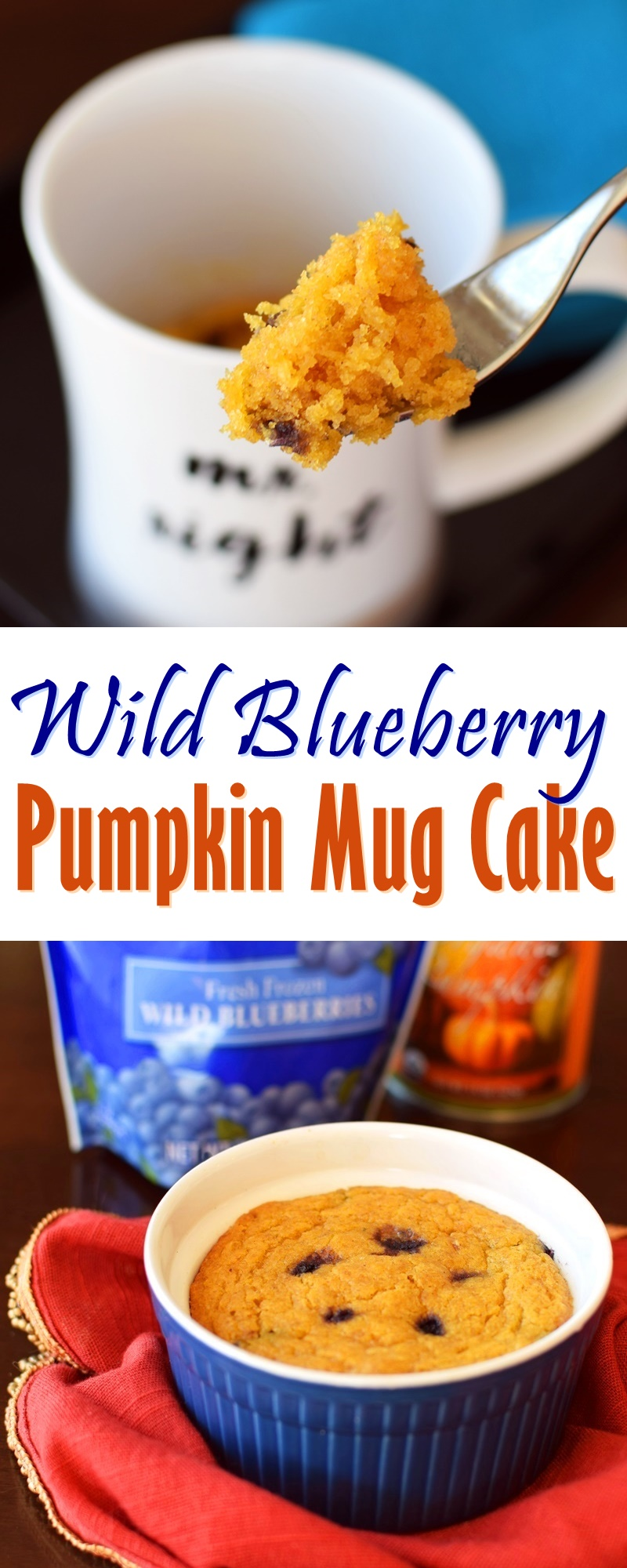 Wild Blueberry Pumpkin Mug Cake Recipe (Vegan + Gluten-Free Optional)