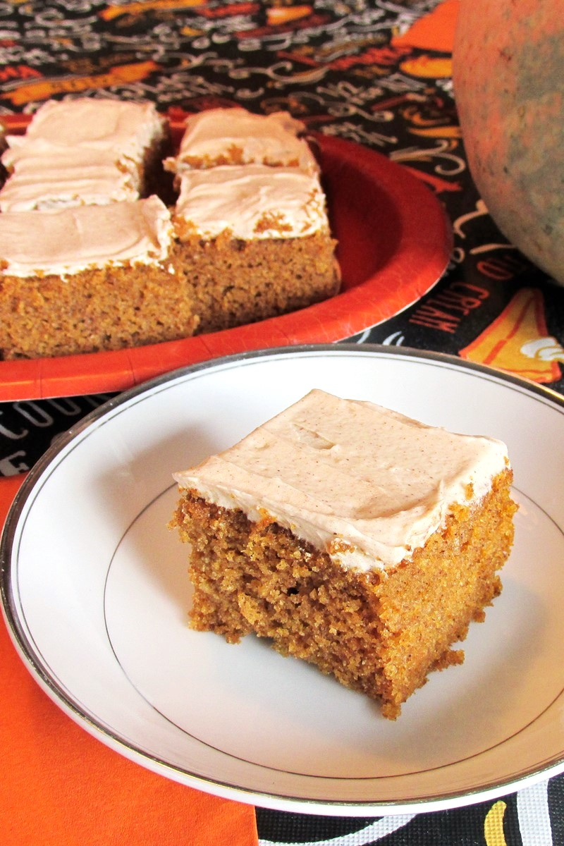 Dairy-Free Frosted Pumpkin Bars Recipe with Spiced Buttercream (nut-free and soy-free, too!)