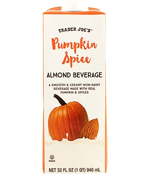 Trader Joe's Pumpkin Spice Almond Beverage (Review) - a dairy-free, vegan, rich & creamy holiday drink