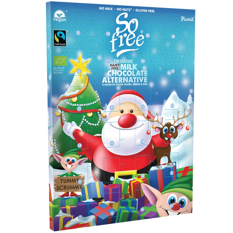 Dairy-Free Advent Calendars - A Full Round-Up with Vegan, Gluten-Free, Nut-Free, & Soy-Free Options, too! (Plamil So Free pictured)