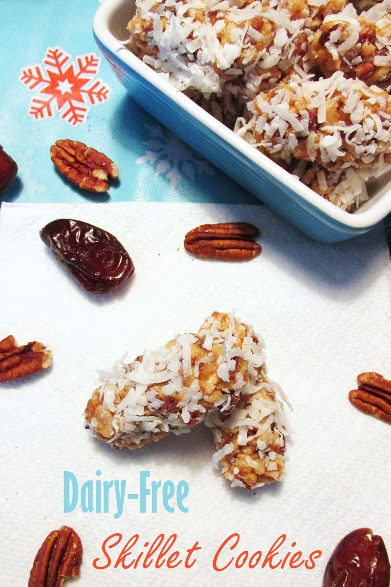 Skillet Cookies Recipe with Dates, Pecans and Coconut (Dairy-free, Gluten-free)