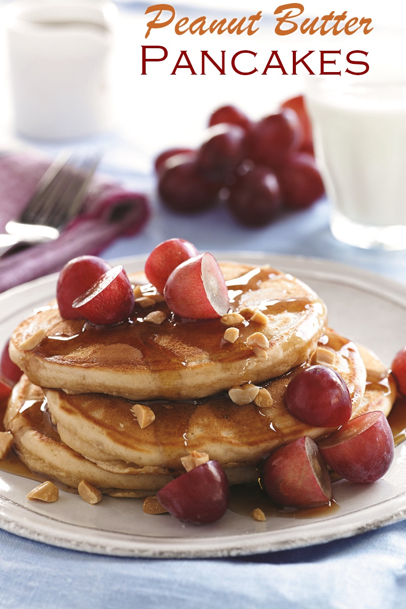 Cheater Peanut Butter Pancakes Recipe - PB and J inspired stack using pancake mix, PB powder, and fresh grapes!