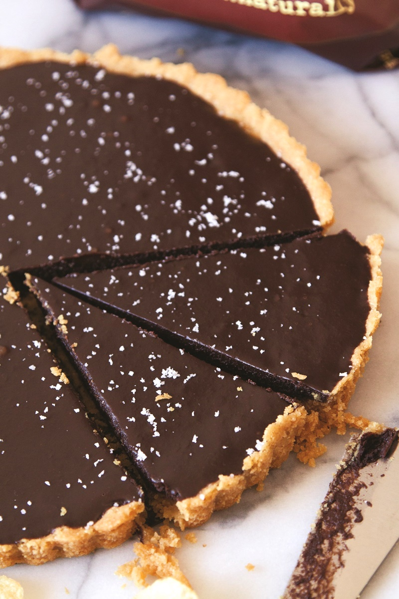Salted Chocolate Tart with Chip Crust