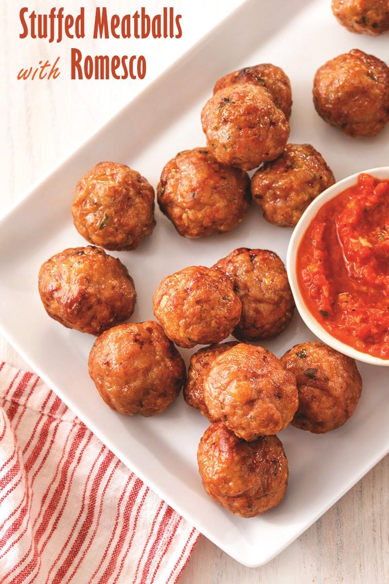 Stuffed Meatballs with Romesco Sauce Recipe (dairy-free, optionally gluten-free)