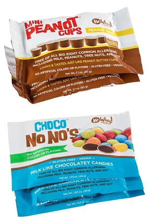 No Whey Chocolate Candy - dairy-free, vegan, top allergen-free alternatives to peanut butter cups, M&Ms and more!