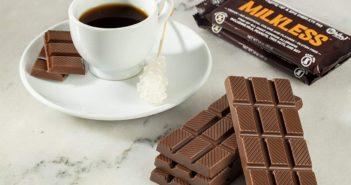 "No Whey Milkless Chocolate Bars Reviews and Info. Dairy-free, Vegan, Top Allergen-Fee Dark Semisweet, ""Milk,"" Crunch, and White Chocolate Varieties"