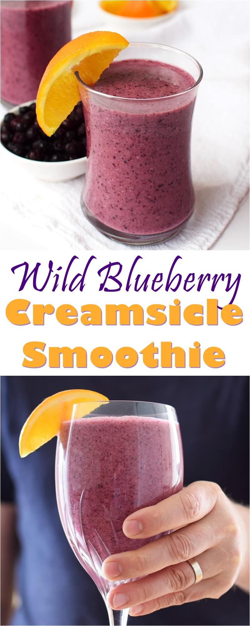 Wild Blueberry Orange Creamsicle Smoothie Recipe (just 4 ingredients!) - healthy, vegan, paleo