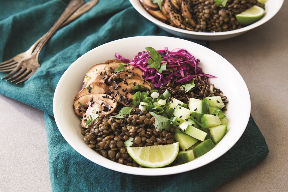 Marinated Mushroom Bowls with Lentils and Wild Rice