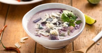 Vegan Purple Potato Chowder Recipe - a healthy, creamy, flavorful Thai-style soup!