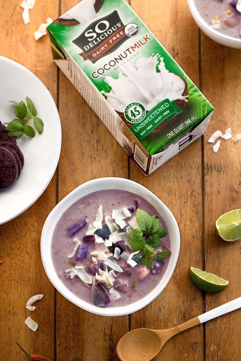 Vegan Purple Potato Chowder Recipe - a healthy, creamy, flavorful Thai-style soup!