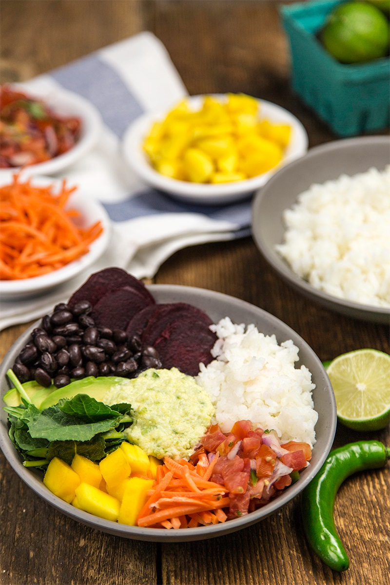 Food in Bowls (Rainbow Rice Bowl recipe pictured) - including Vegan Mashed Potato Bowls with Creamy Cashew Gravy