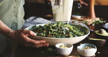 Vegan Kale Caesar Salad Recipe with Creamy Dairy-Free Dressing, Seed Cheeze and Tempeh Croutons