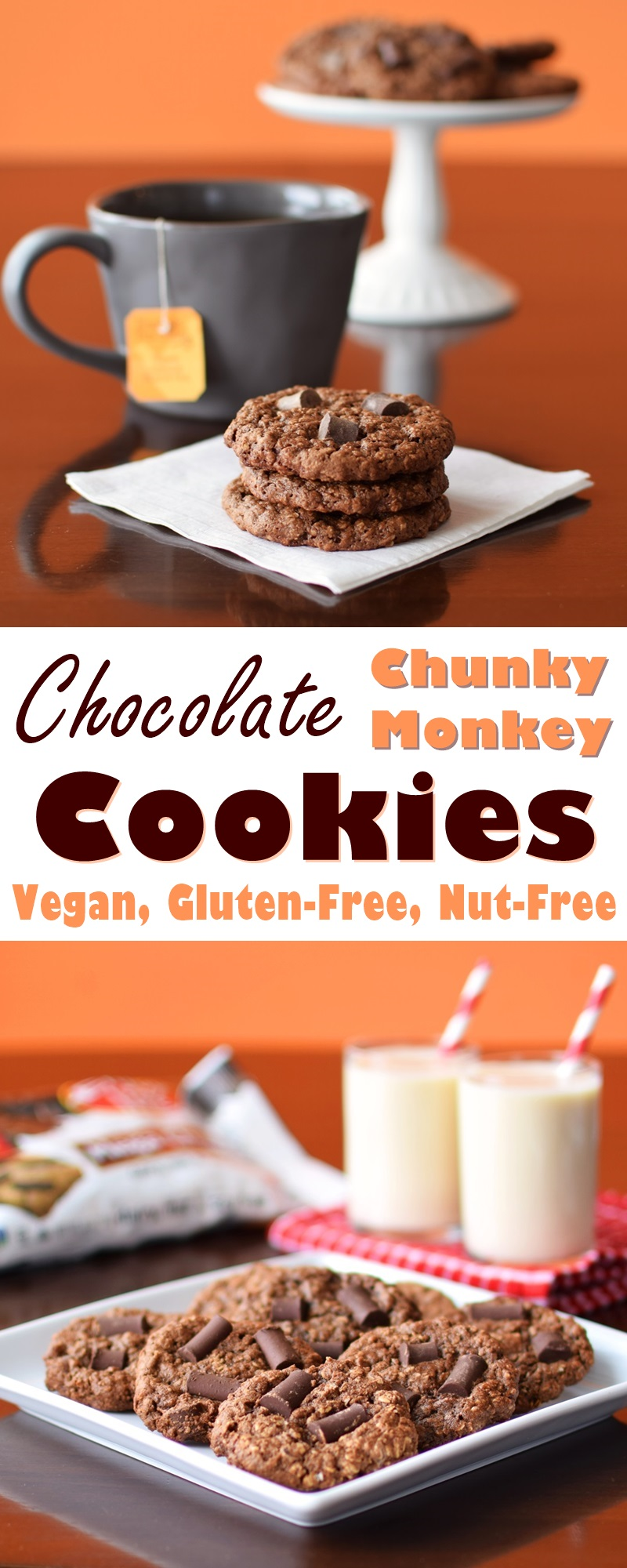 Chocolate Chunky Monkey Cookies Recipe - unbelievably easy, rich, and naturally vegan, gluten-free and allergy-friendly