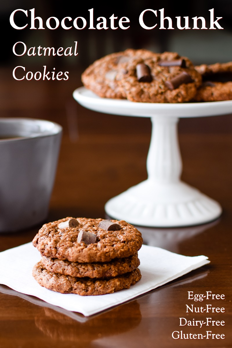Super Chocolate Chunky Monkey Oatmeal Cookies Recipe - naturally gluten-free, dairy-free, egg-free, nut-free, soy-free, and vegan!