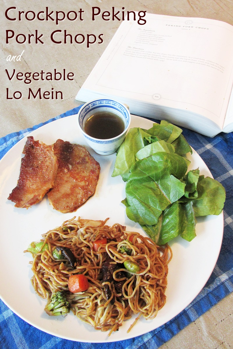 Crockpot Peking Pork Chops with Vegetable Lo Mein & Easy Teriyaki Salad (Dairy-free Recipes with Gluten-free, Nut-free & Meatless Options!)